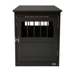 Wooden Home Dog Crate Kennel House With Open Side Slats For Small Pets Brown