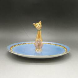 Serving Dish With Cat Figure Old Noritake Secondhand
