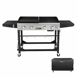 Gd401c 4-burner Portable Propane Flat Top Gas Grill And Griddle Combo, Black