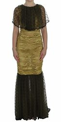 Dolce And Gabbana Dress Yellow Black Floral Lace Ricamo Gown It40/us6/s
