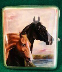 Lovely Enamelled Scene With Two Horses.silver Cheroot Case C1910