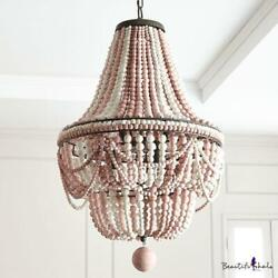 French Wooden Bead Hanging Light 19.5 Wide 8 Lights Foyer Chandelier Light In