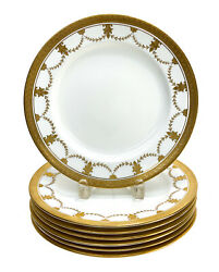 7 Coalport England For And Co. Porcelain Dinner Plates. Gilt Swags