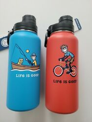 Life Is Good Red Or Blue Jake 32oz Stainless Steel Bpa Free Water Bottle