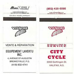 2 X Honda Motorcycle Matchbook Covers City Cycle Halifax Breakeyville Quebec