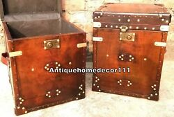 Pair Of Vintage Side Table Trunks Finest English Leather Antique Inspired Chest
