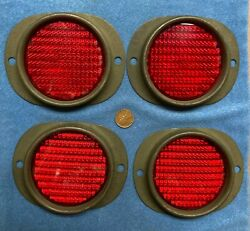 Four Nos Red Reflectors For Wwii Bantam Jeep Trailer