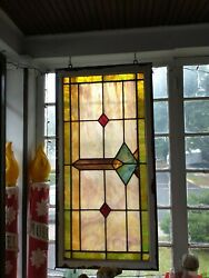 Set Of 3 Vintage Stained Glass Window Panels