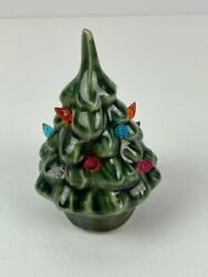 Vintage Small Ceramic Christmas Tree With Colored Bulbs Dollhouse Village 3.25