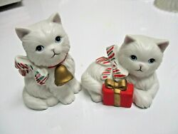 Christmas Kitty Cat Porcelain Figurines with Candy Cane Striped Bows