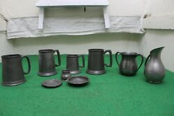 Mixed Group Of Antique Pewter Tankards, Trinket Dishes, Jug, Etc.
