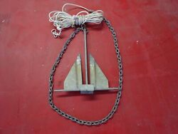 Original Usa Danforth Galvanized Boat Anchor Good For Boats 20and039and039 With Chain