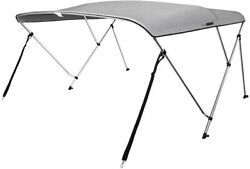 Boat Bimini Top 67-72 Inch W Gray Waterproof With Rear Support Poles 2 Straps