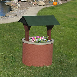Tanktop Covers Wishing Well Planter Septic Cover - Brick Base/green Roof