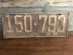 Vintage 1925 Tennessee License Plate Tag All Original Antique 150-793 Old Auto