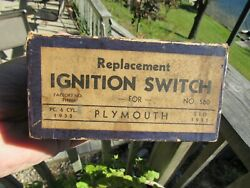 Vintage Original 1932 - 33 Plymouth Ignition Switch With Instructions Nos Mib