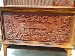 Vtg Heat Cook Stove Ornate Cast Iron Hunting Lodge Cabin Wild Life Birds Flowers