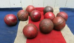 Ten Antique Hand Polished Ruby Red English Cricket Balls Sporting Antiques