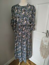 Never Fully Dressed 12 Ditsy Floral Maxi Dress Midaxi Puff Sleeves Superb Cond