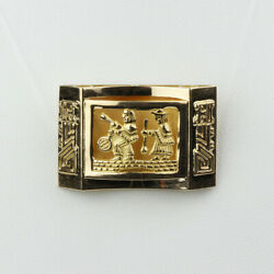 18k Yellow Gold Curved 3d Brooch With Native Or Mayan Design