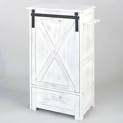 Barn Door Farmhouse Pet Feeding Station Holds Dog Cat Food And Bowls - White