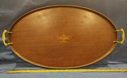 Antique Vintage Manning Bowman Art Deco Oval Wood Mahogany Serving Tray 25 Long