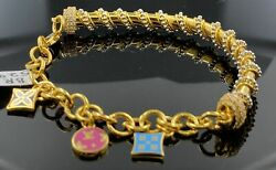 22k Bangle Bracelet Solid Gold Ladies Exotic Dangling Charms With Enamel Br5295