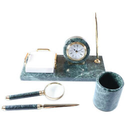 Set Of Table 4 Objects Green Marble Table Office Holders Vintage Set Office B...