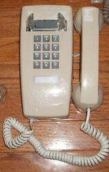 VTG Wall Mount Telephone GTE Push Button Touch Tone Phone Handset Beige GUC