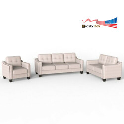 Us Furniture 3 Piece Living Room Fabric Sofa Loveseat Armchair Beige Polyester