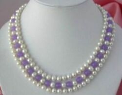 18-20 In 3row South Sea White Natural Pearl Purple Jade Necklace 14k Gold Clasp