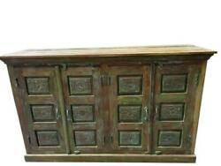 Green Vintage Organic Wood Console Buffet Farmhouse Eclectic Storage Cabinet