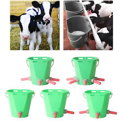 Milk Feed Bucket With Pacifiers For Cattle Goat Cow Pig Livestock Feeding
