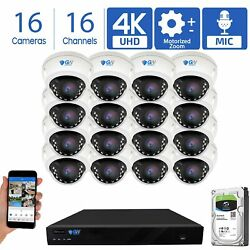 16 4k 8mp Motorized Zoom Ip Microphone Poe Nvr Ai Dome Security Camera System