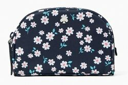 NWT KATE SPADE Jae Navy Blue Floral Small Dome Travel Cosmetic Case Bag $24.00