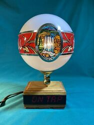 """Vintage Coors Beer Waterfall Globe Light Lamp Lighted Bar Sign """"on Tap"""""""