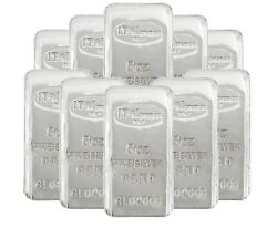 Lot Of 10 Ital Preziosi 5 Oz .999 Fine Silver Bars New Sealed With Assay Cards