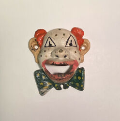 Vintage Clown Face Beer Bottle Opener Painted Cast Iron Wall Mount Man Cave Bar