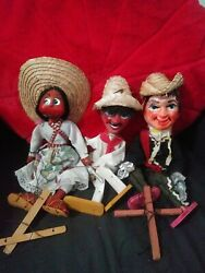 Lot Of 3 Mariachi Mexican Marionette Puppets Old Mexican Art Hehco En Mexico