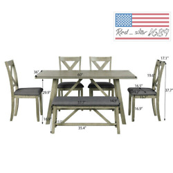 Us 6pcs Gray Rustic Style Wood Dining Table Bench 4 Chairs Kitchen Furniture
