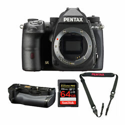 Pentax K-3 Mark Iii Camera Body Black With Battery Grip And 64gb Sd Card