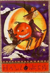 Halloween House Flag Witch Pumpkin Black Cat Bat Flying Witch Jetmax Rare Htf