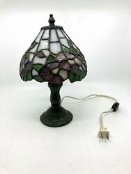 Antique Heyco Bronze And Leaded Stained Glass Desk/table Top Lamp 11.5