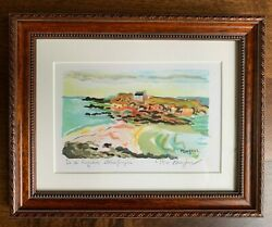 Alexandre Minguet Lithograph Print Seaside France Pencil Signed Numbered 39/100
