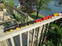 Vintage Complete 1930's Strombecker Toy Wood 'national Fast Freight' Train Set