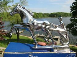 Vintage Original Trotter Race Horse And Sulky Cart Hood Ornament N.o.s. Ghia