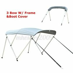 Gray 600d 3 Bow Boat Bimini Top Roof Cover With Boot And Rear Poles And Frame 6ft