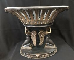 Antique Bronze Centerpiece Figural Lady Angles Winged Statue 4 Lion Heads Large