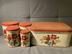 Vintage 1950s Parmeco Tin Canisters Plus Box Pansies/flowers Set Of Four Rust