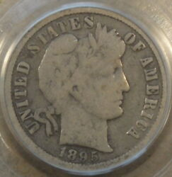 1895-o Barber Dime 10c Pcgs Certified Vg10 As Pictured